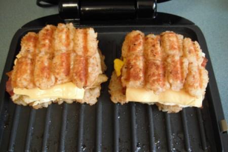 Tator Tot Breakfast Sandwiches on grill