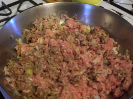 cooking ground meat in pan