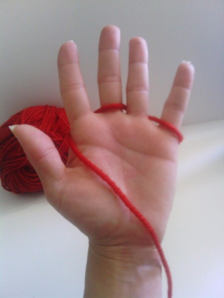 Finger Knit Headband - showing the initial wrapping method