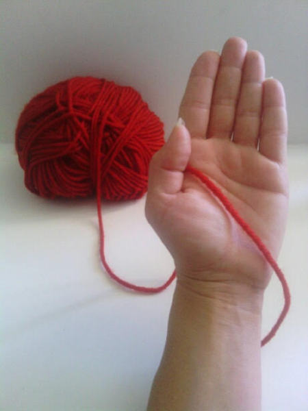 Finger Knit Headband - measure out 7 inches of yarn holding as shown