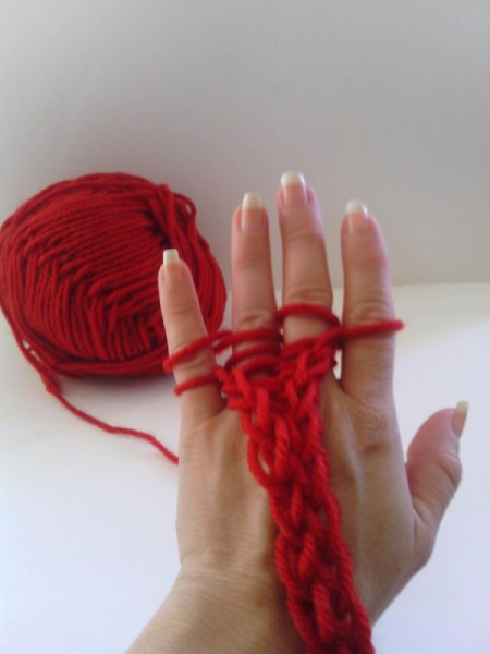 Finger Knit Headband - continuing until the desired length is reaches