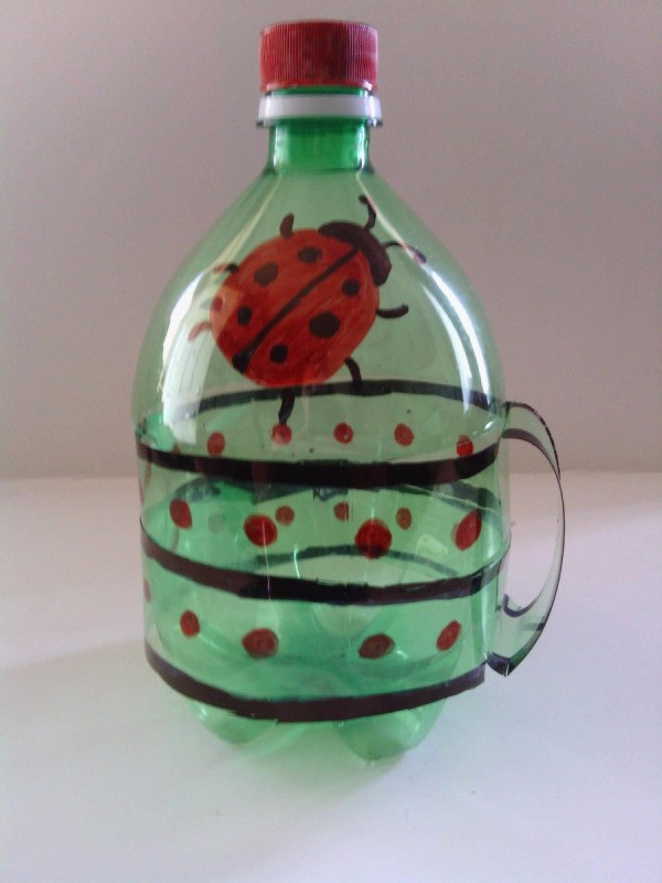 Recycled Soda Bottle Cup - finished lidded cup with ladybug motif