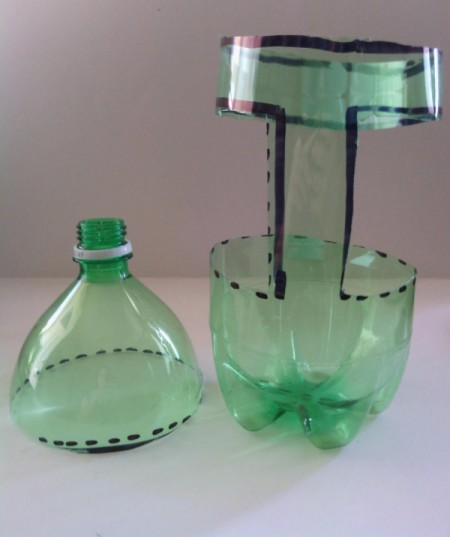 Recycled Soda Bottle Cup - view of top and bottom of cut bottle