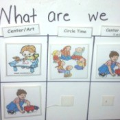 The first half of a preschool daily activity chart.