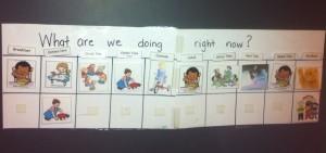 A preschool daily activity chart.