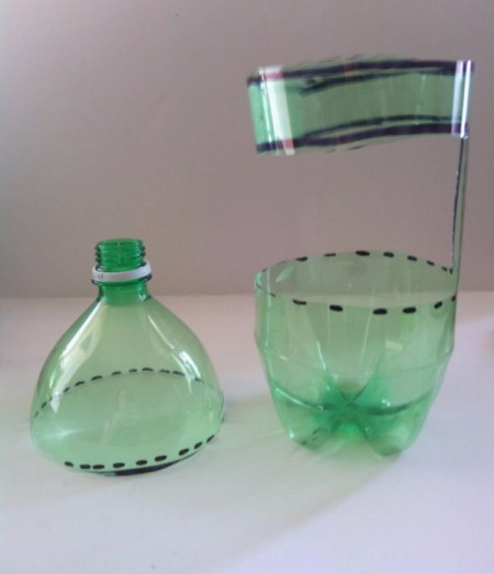 Recycled Soda Bottle Cup - getting ready to make handle