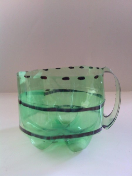 Recycled Soda Bottle Cup - fold under and pull up to create handle