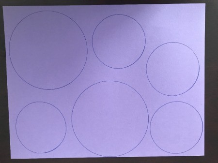3D Flower Mother's Day Card - various size circles on light purple paper
