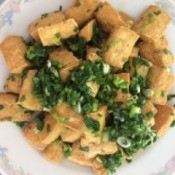 Crispy Fried Tofu with Scallions