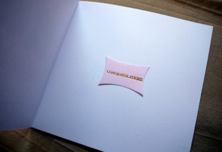 New Baby Greetings Card - glue message to inside of card