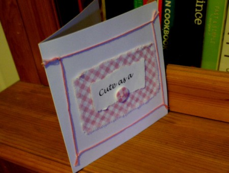 New Baby Greetings Card - glue floss in place