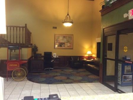 A hotel lobby.