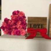 Hanging Floral Heart - flower heart on shelf