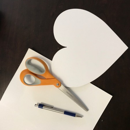 Hanging Floral Heart scissors and heart template