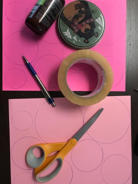 Hanging Floral Heart - circles on various shades of pink paper