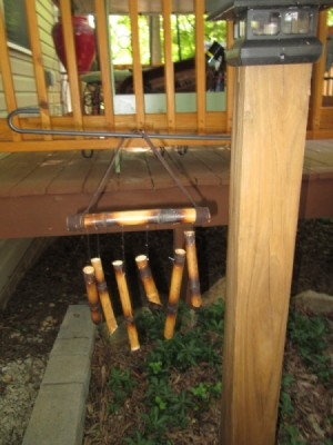 Making A Bamboo Wind Chime - closeup of hanging wind chime