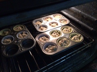 3/5 filled muffin tins before baking