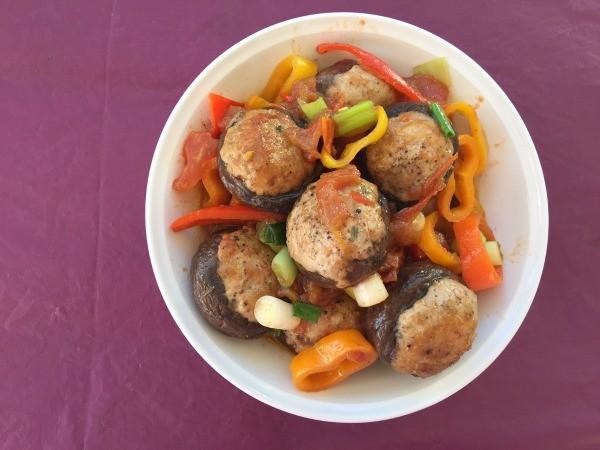 Ground Turkey Stuffed Mushrooms with Bell Peppers