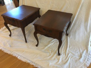 Value of Mersman End Table 66-2 - two wood end tables on a painting tarp