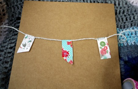 Bunting Greetings Card - repeat with two more, spacing them out over the width of the card