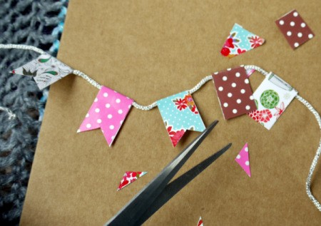 "Bunting Greetings Card - cut a triangle from the bottom of each to make a ""v"" shape"