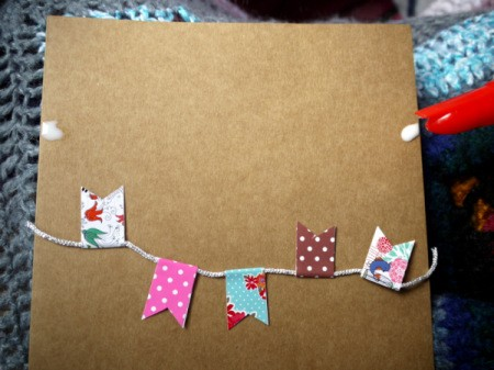 Bunting Greetings Card - glue the ends of the cord to the card