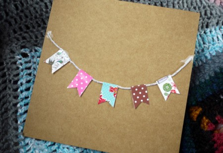 Bunting Greetings Card - flags glued down to the card face