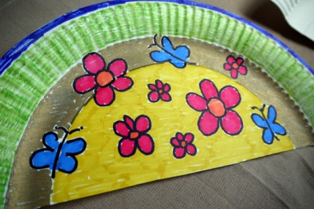 Paper Plate Fan - coloring complete