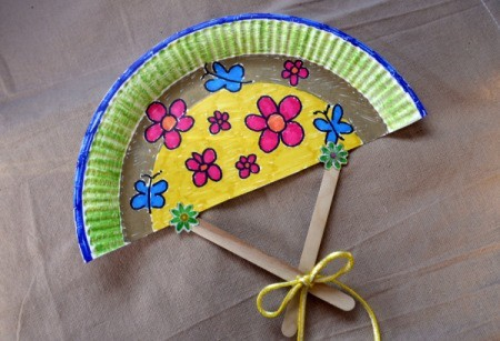Paper Plate Fan - finished fan