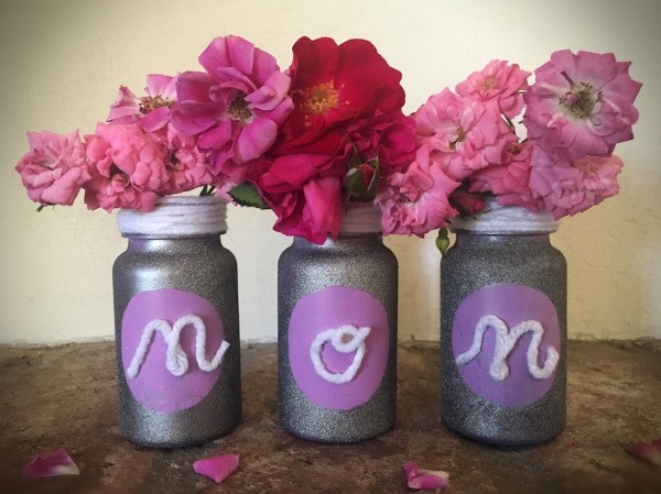 Mother's Day Pill Bottle Vases - painted bottles with flowers inside