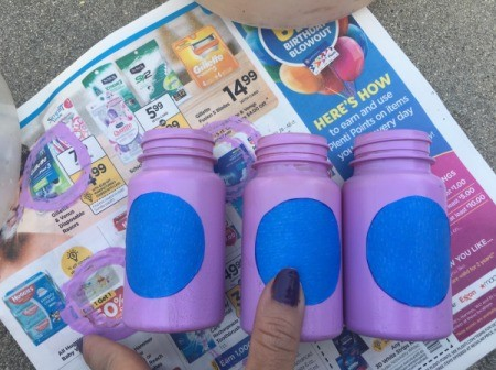 Mother's Day Pill Bottle Vases - stick tape circles to completely dry bottles