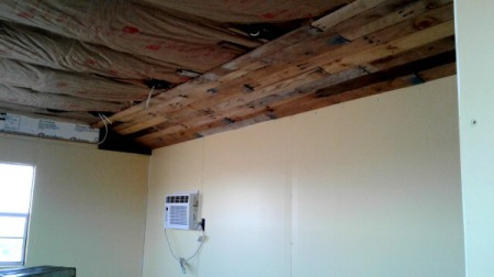 Pallet Wood Ceiling - beginning to nail up slats