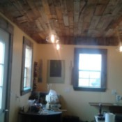 Pallet Wood Ceiling - finished with lightening and view of the room as well