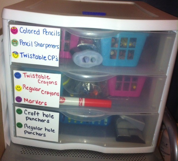 Handmade Labels for Storage Containers and Drawers  - labeled three drawer storage unit