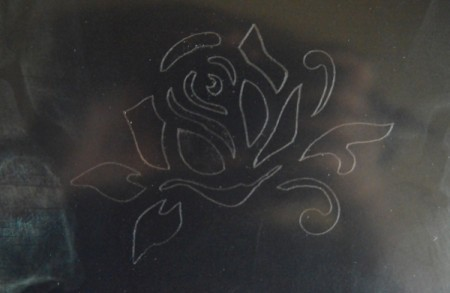Mother's Day Table Decoration - trace rose onto X-ray film