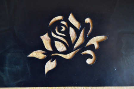 Mother's Day Table Decoration - use utility knife and scissors to cut out the rose stencil