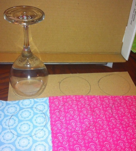 Wine Glass Candle Holders - trace a circle using the wine glass rim onto cardboard and scrapbook paper