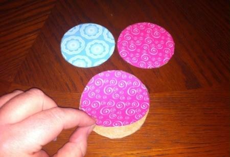 Wine Glass Candle Holders - glue scrapbook paper to cardboard circle