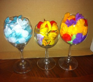 Wine Glass Candle Holders - turn glasses right side up and fill with faux flowers of your choice