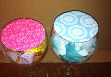 Wine Glass Candle Holders -glue paper circles to glasses