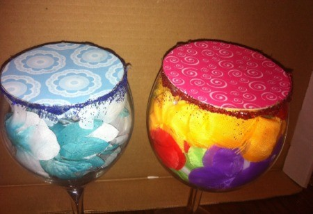 Wine Glass Candle Holders - add glitter or ribbon around the rim