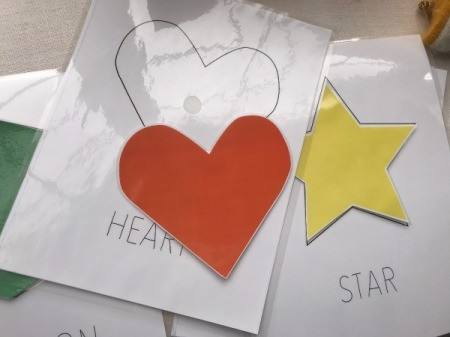 Hands-on Interactive Learning Shapes - heart and star laminated shapes
