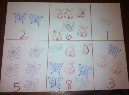 Insect Stamping Activities - same sheet with correct number of stamped insects