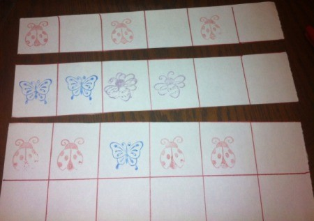 Insect Stamping Activities  - begin the pattern on strips