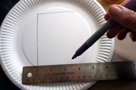 Paper Plate Cookie Gift Basket - draw a rectangle in the middle of the plate
