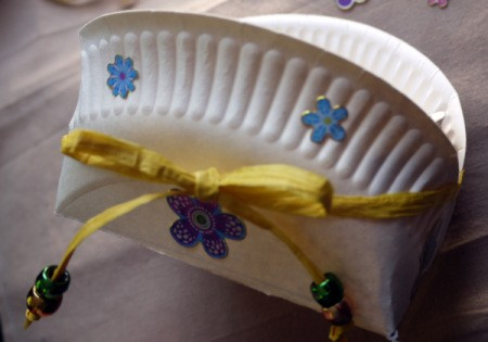 Paper Plate Cookie Gift Basket - add stickers or other decorations