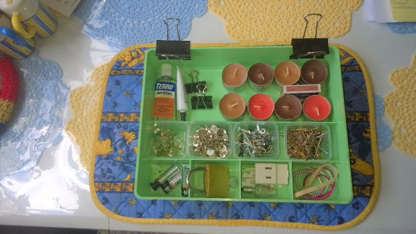A silverware divider being used for clutter control.