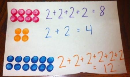 Painted Lego Math - adding