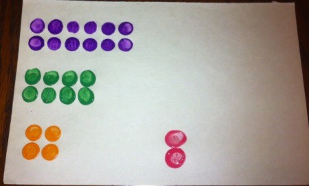 Painted Lego Math - similar set up as with addition to teach multiplication