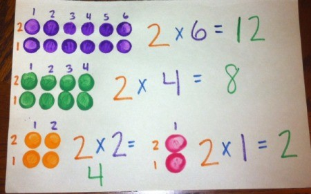 Painted Lego Math - write out the math problem and solution